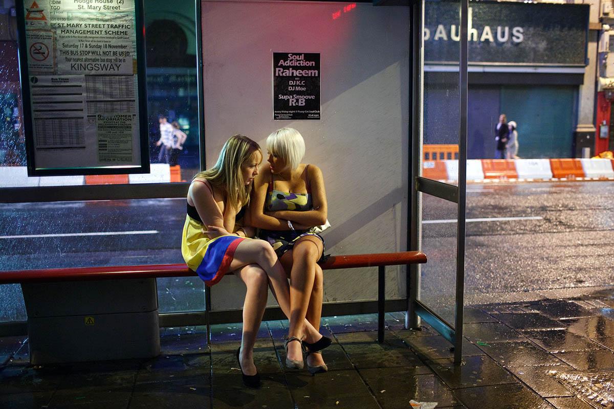 The nightlife in Cardiff, UK.