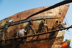 Ship repairing at shipyard in Keraniganj upazila in Dhaka, Bangladesh.