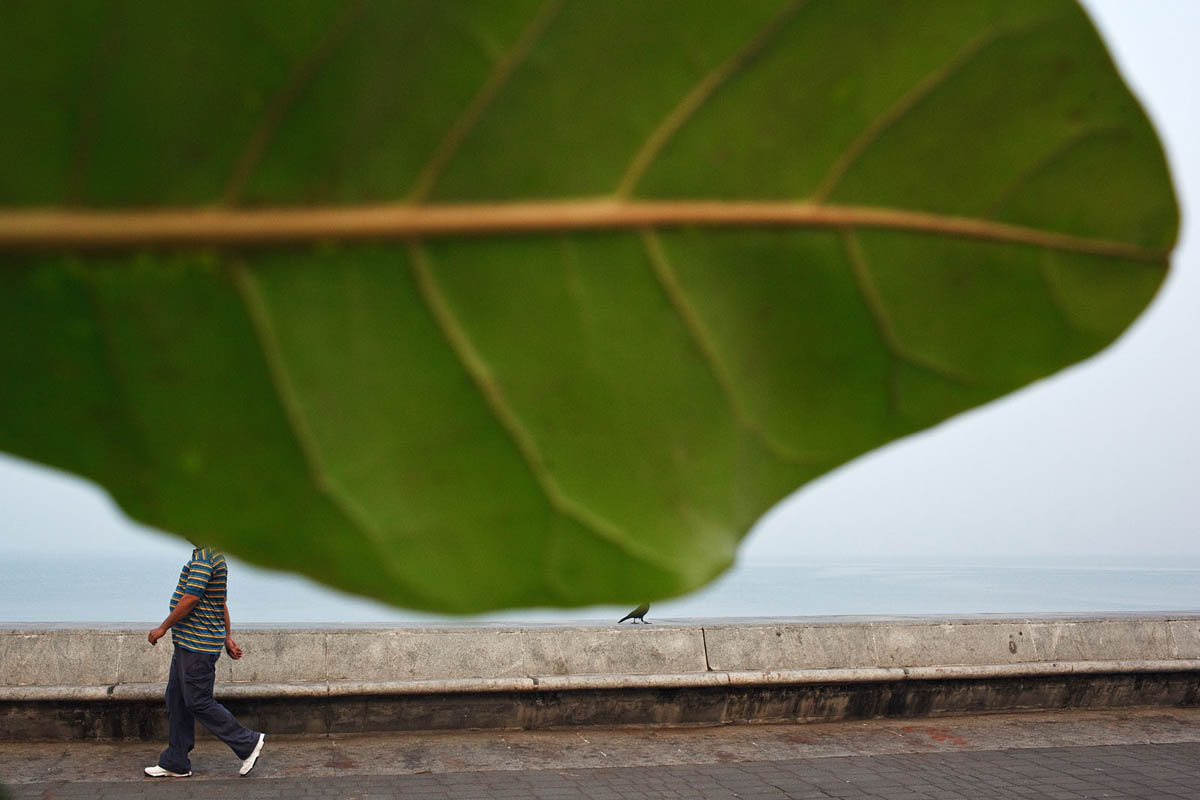 Early morning on the sea promenade along Marine Drive in Mumbai, India.