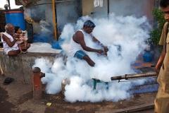 Fumigation against mosquitos in Mumbai, India.