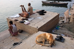 Morning exercising on the bank of Ganges river in Varanasi, India.