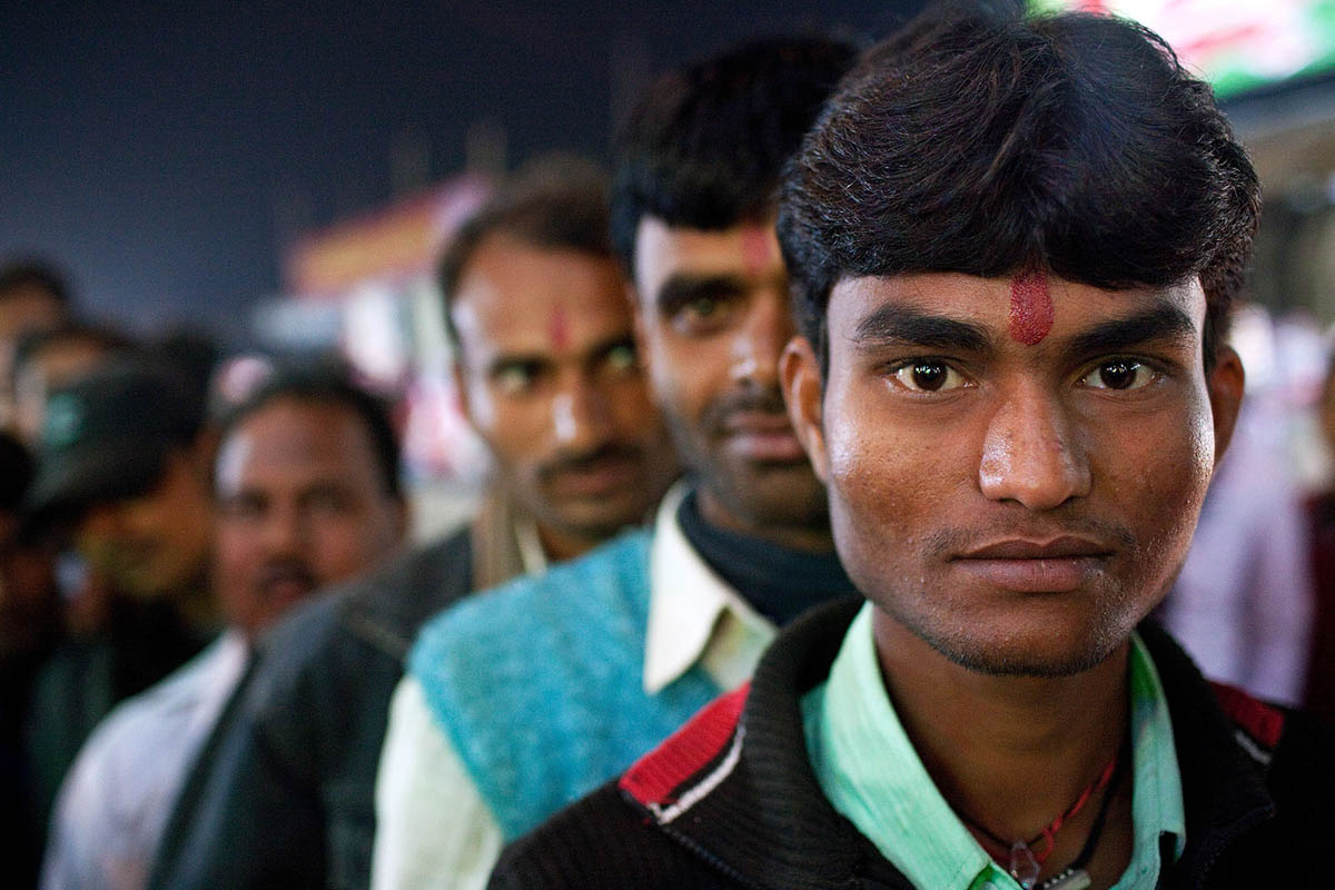 Indian men queue up for a dancing girls show at the Sonepur Mela 2012.